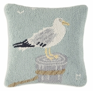 Seagull Hooked Wool Pillow - 18""