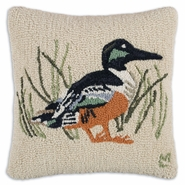 "Shoveler 18"" Hooked Wool Pillow"