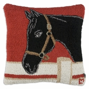 "Show Horse 18"" Hooked Wool Pillow"
