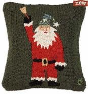 "Sidewalk Santa 18"" Hooked Wool Pillow"