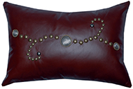 Sierra Brown Leather Pillow with Decorative Conchos and Studs
