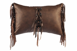 Sierra Brown Leather Pillow with Leather Fringe and Toggle Buttons