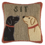 Sit Hooked Wool Pillow -18""