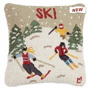 "Ski Country 18"" Hooked Wool Pillow"