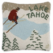 "Ski Lake Tahoe 18"" Hooked Wool Pillow"