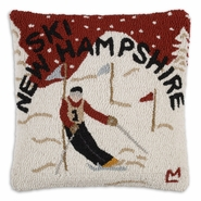 "Ski New Hampshire 18"" Hooked Wool Pillow"