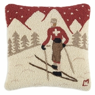 "Ski Patrol 18"" Hooked Wool Pillow"