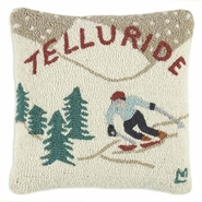 Ski Telluride Hooked Wool Pillow - 18""