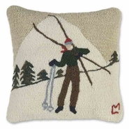"Skiing Break Hooked Wool Pillow -- 18"" Square"