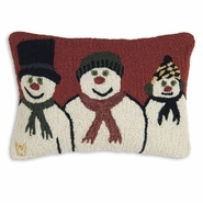 "Snow Family 14"" X 20"" Hooked Wool Pillow"