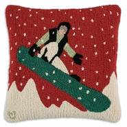 "Snow Rider 18"" Hooked Wool Pillow"