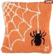 "Spider Web 14"" Hooked Wool Pillow"