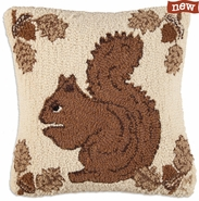 "Squirrel 18"" Hooked Wool Pillow"