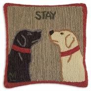 "Stay There 18"" Hooked Wool Pillow"