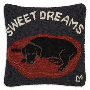 Sweet Dreams Hooked Wool Pillow - 18""