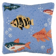 "Swim In 18"" Hooked Wool Pillow"