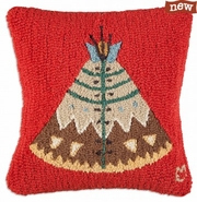 "Teepee II 18"" Hooked Wool Pillow"