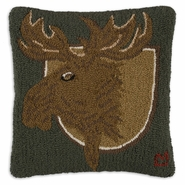 "Trophy Moose 18"" Hooked Wool Pillow"
