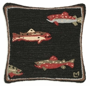 Trout Hooked Wool Pillow - 18""
