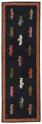 "River Fish Hooked Wool Runner Rug -- 96"" x 30"""