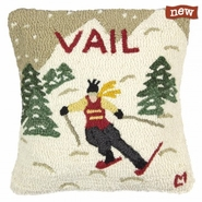 "Vail Winter 18"" Hooked Wool Pillow"