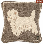 "Westie 18"" Hooked Wool Pillow"