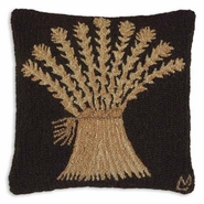 Wheat Sheaf Hooked Wool Pillow - 18""
