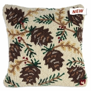 "White Pinecones 18"" Hooked Wool Pillow"