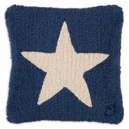 "White Star on Blue 14"" Hooked Wool Pillow"