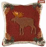 "Wilderness Moose 18"" Hooked Wool Pillow"