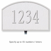 Cast Aluminum Plaque Arched Small White Silver Characters Lawn Mounted