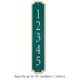 Cast Aluminum Plaque Column Green Gold Characters Surface Mounted