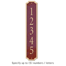 Cast Aluminum Plaque Column Maroon Gold Characters Surface Mounted