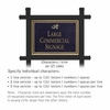 Commercial Sign Rectangular Black Post Black Sign Gold Characters Daisy Emblem 2 Sided