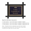Commercial Sign Rectangular Black Post Black Sign Gold Characters Fountain Emblem 1 Sided