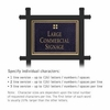 Commercial Sign Rectangular Black Post Black Sign Gold Characters Grid Emblem 1 Sided