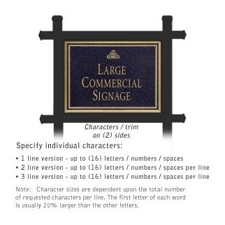 Commercial Sign Rectangular Black Post Black Sign Gold Characters Infinity Emblem 2 Sided