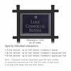 Commercial Sign Rectangular Black Post Black Sign Silver Characters Grid Emblem 2 Sided