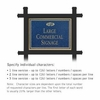 Commercial Sign Rectangular Black Post Cobalt Blue Sign Gold Characters Fountain Emblem 1 Sided