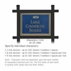 Commercial Sign Rectangular Black Post Cobalt Blue Sign Gold Characters Fountain Emblem 2 Sided