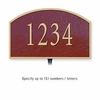 Cast Aluminum Plaque Arched Small Maroon Gold Characters Lawn Mounted