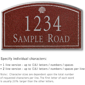 Signature Series Plaque Arched Medium Maroon Silver Characters Shell Emblem Surface Mounted