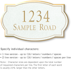 Signature Series Plaque Classic Medium White Gold Characters No Emblem Surface Mounted