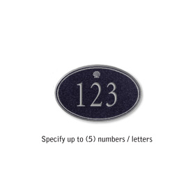 Signature Series Plaque Oval Petite Black Silver Characters Shell Emblem Surface Mounted