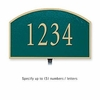 Cast Aluminum Plaque Arched Small Green Gold Characters Lawn Mounted