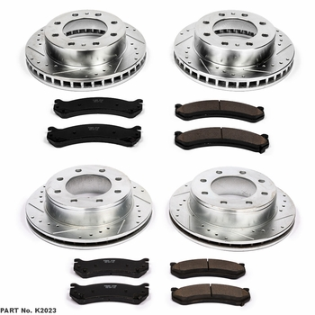 Power Stop Front & Rear Drilled & Slotted Rotors w/Pads