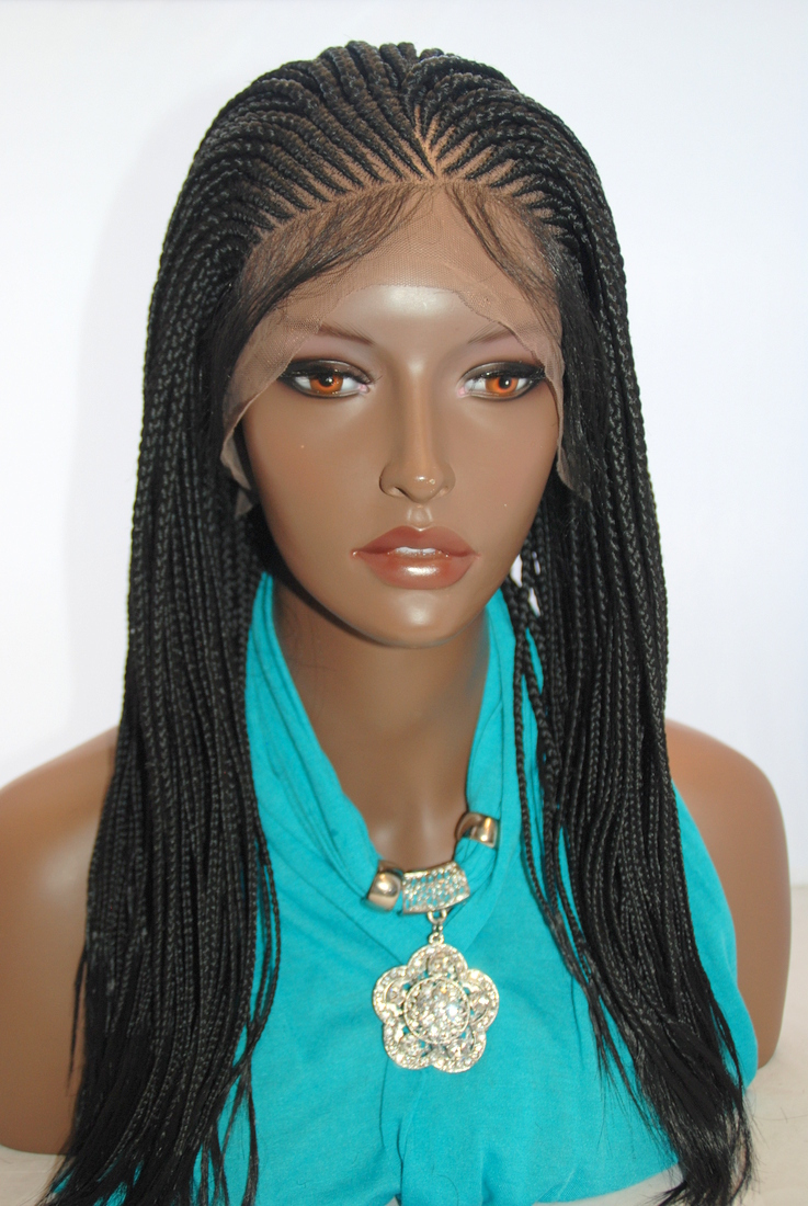 Hand Braided Lace Front Wig Cornrow Color 1 In 16 Inches