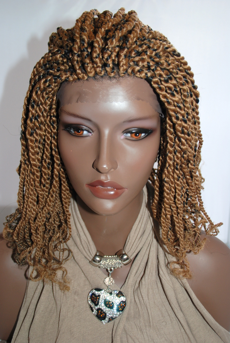 Braided Lace Front Wig Kinky Twist Color 27 1b In 8 Inches