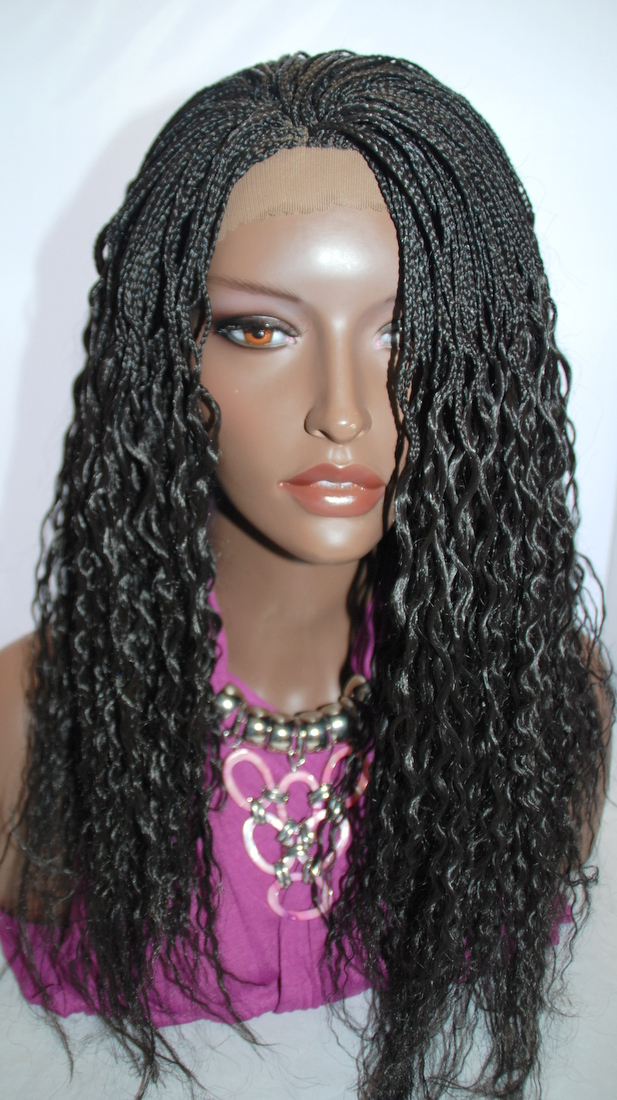Braided Lace Front Wig Micro Braids Color 2 In 17 Inches