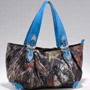 Mossy Oak Camo Shoulder Bag - Blue Croco Trim/Hinge Handles (2228-TQ)